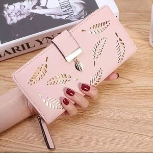 New Pink & Gold Leaves Faux Leather Wallet